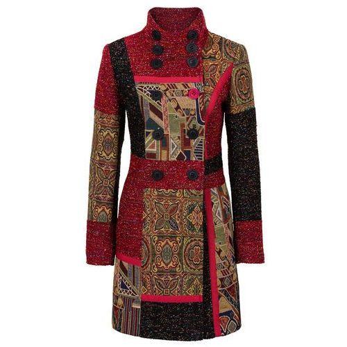 Płaszcz w połączeniu różnych materiałów i wzorów bonprix czerwono-kolorowy, kolor czerwony
