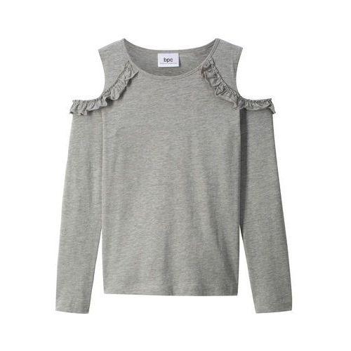 f033b92925e75c Zobacz w sklepie Shirt z długim rękawem i falbanami bonprix jasnoszary  melanż