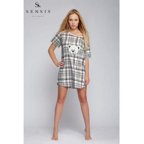 e83ca10c02f549 Koszula nocna model miś kratka ecru/black (sensis) - sklep ...