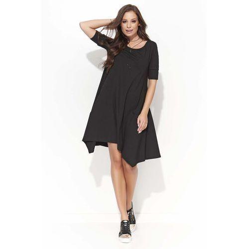 ee98285872254c Czarna Trapezowa Sukienka z Wydłużonymi Bokami, w 3 rozmiarach ...