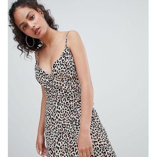 21f22d29a5 leopard print wrap front mini dress in multi - multi marki Bershka
