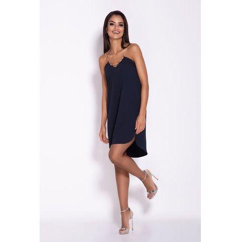 e0ec04c99f Zobacz ofertę Granatowa Elegancka Luźna Sukienka z Wydłużonym tyłem na  Wesele