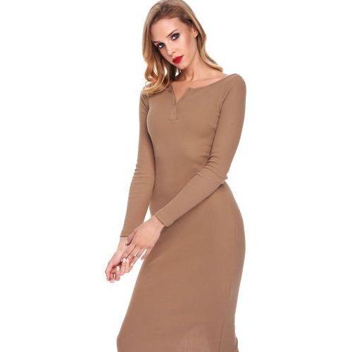 Sukienka Amabel w kolorze camelowym