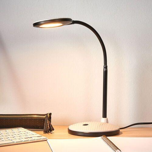 Lampka biurkowa led ivan, jasnoszary i czarny marki Lindby
