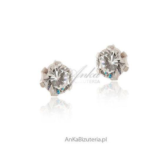 Kolczyki srebrne wkrętki z cyrkoniami Anka biżuteria