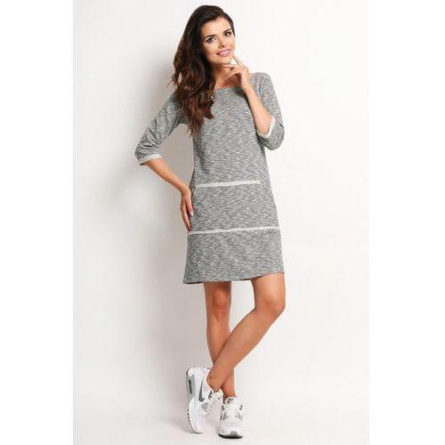 97761566cd Khaki dzianinowa midi sukienka bombka z długim rękawem (Awama ...