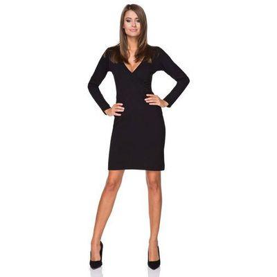 6507cf4d37 suknie sukienki wizytowa czarna sukienka do kolana z dekoltem i ...
