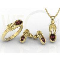 Zestaw: pierścionek, kilczyki i wisiorek z żółtego złota z granatami bp-69z-zestaw - żółte \ granat, kolor niebieski