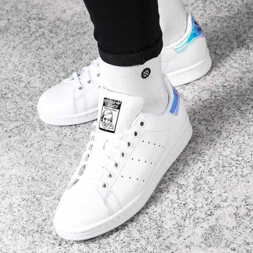 Adidas stan smith j 272 footwear white metallic silver footwear white - buty damskie sneakersy