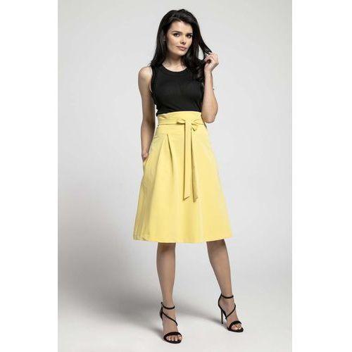 0e8c7c9e4a Zobacz ofertę Żółta Wizytowa Rozkloszowana Spódnica z Ozdobną Kokardką