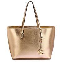 Złota torebka shopperka na ramię - złoty