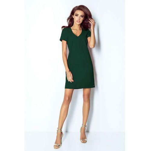 ca48218073 Zielona sukienka trapezowa mini z dekoltem v (IVON) opinie + ...