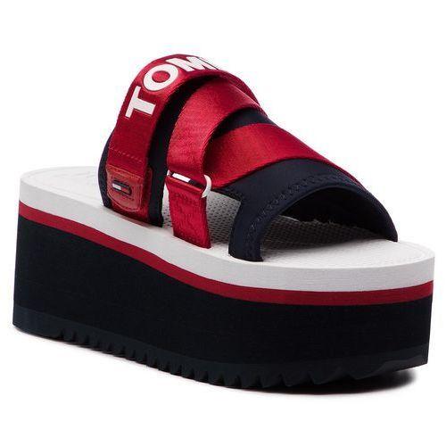 d0d83ed65785a Tommy Jeans Klapki - sporty neoprene flatform mule en0en00465 rwb 020 Tommy  jeans