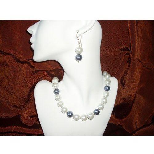 N-00011 Naszyjnik z perełek szklanych, białych i popielatych, kolor biały