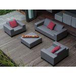 Meble ogrodowe szare - ottomana + 2 fotele ogrodowe + sofa - ROVIGO (7105272684514)