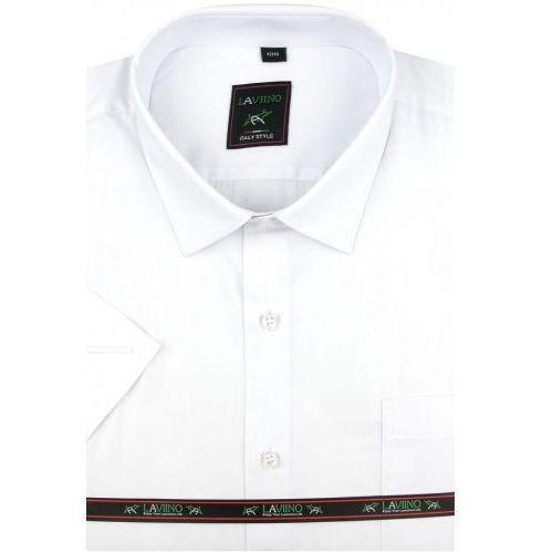 Laviino Koszula męska gładka biała na krótki rękaw w kroju regular k941