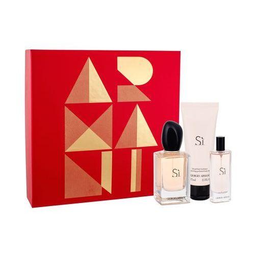 Giorgio armani Si zestaw woda perfumowana spray 50ml + miniatura 15ml + perfumowany balsam do ciała 75ml - darmowa dostawa kiosk ruchu (3614271679666)