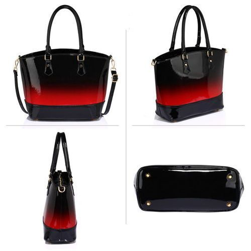Cieniowana lakierowana torebka damska czerwono czarna czarny    czerwony