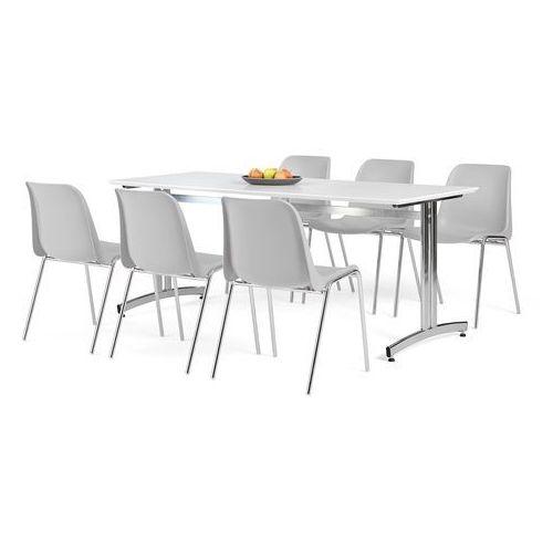 Zestaw mebli do jadalni, stół 1800x700 mm, biały + 6 krzeseł, szary/chrom