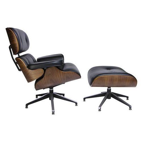 King home Fotel lounge z podnóżkiem czarny - skóra naturalna, sklejka orzech (5900168803084)