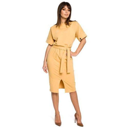 Żółta Sukienka Midi z Rozcięciem na Przodzie, w 6 rozmiarach