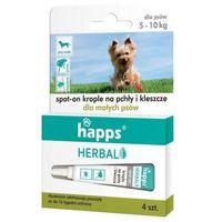 Bros Krople przeciw pchłom i kleszczom dla psów małych 5-10 kg happs herbal (4 sztuki) (5904517206366)