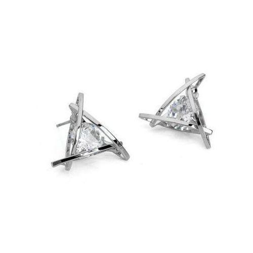 Kasandra Kolczyki triangle z cyrkonią - srebrne k210s