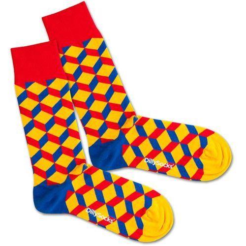DillySocks Skarpety 'Big Lego Dice' niebieski / żółty / czerwony (7640172495780)
