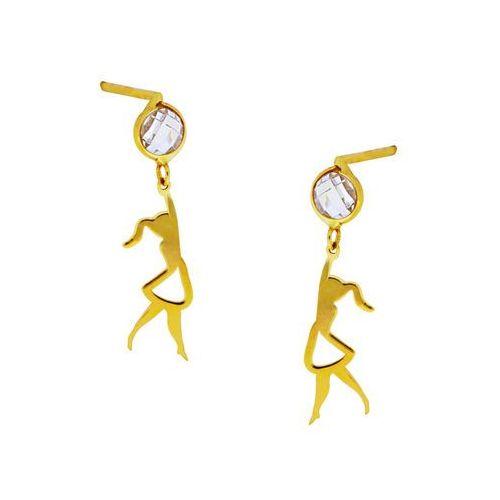 Kolczyki złote laleczki z cyrkonią