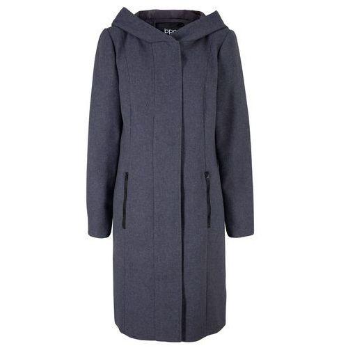 Krótki płaszcz z kapturem bonprix szary melanż, wełna