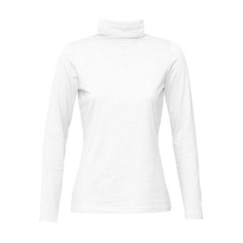 Shirt ze stretchem i golfem, długi rękaw biały marki Bonprix