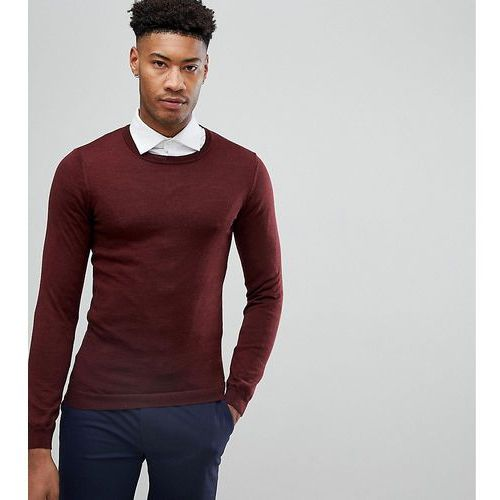 Asos tall muscle fit merino wool jumper in burgundy - red