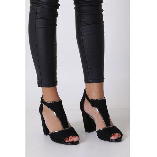Czarne sandały na słupku z zakrytą piętą Sergio Leone SK854, w 4 rozmiarach