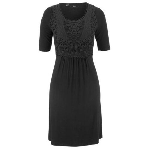 Bonprix Sukienka z koronkową wstawką, krótki rękaw czarny