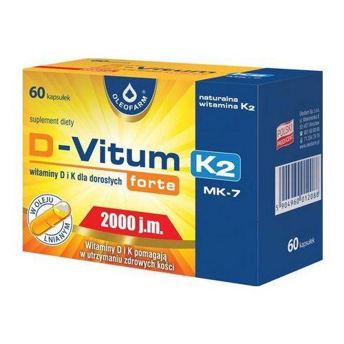 Kapsułki D-Vitum Forte (Witamina D3 2000IU) K-2 (Witamina K2 MK-7 75µg) 60 kaps