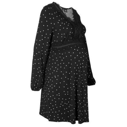 Bonprix Sukienka ciążowa shirtowa z koronką i nadrukiem w kropki czarno-kremowy