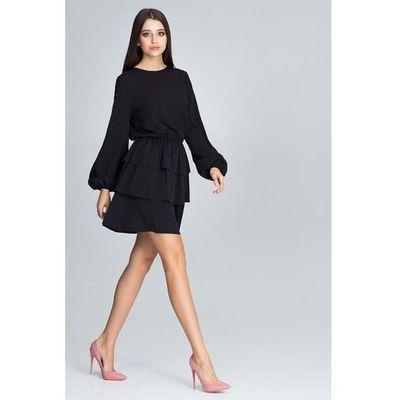 16c6fe1ce8 Czarna Romantyczna Wyjściowa Sukienka z Długimi Bufiastymi Rękawami