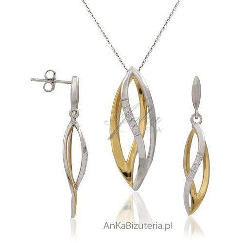 Anka biżuteria Vanessa - komplet srebrny i złocony z mikro cyrkoniami