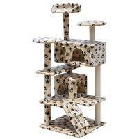 drapak dla kota z dwoma domkami, beżowy w łapki, 126 cm marki Vidaxl