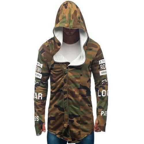 Bluza męska z kapturem z nadrukiem moro-khaki Denley 0796-1, kolor zielony
