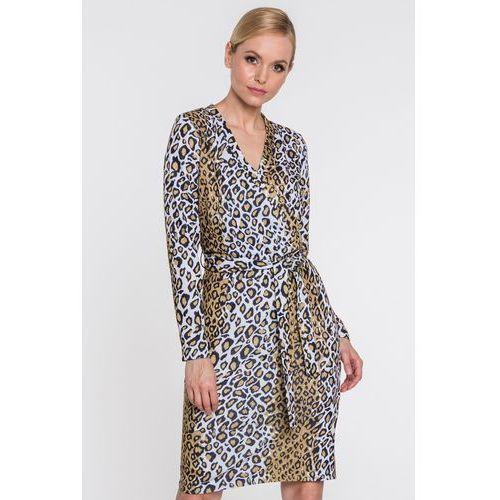 eb980da2cf Kopertowa sukienka w panterkę - Kumi