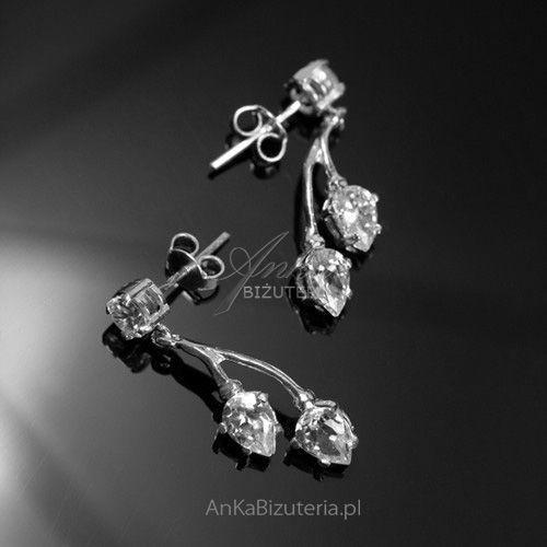 Kolczyki srebrne z cyrkoniami - srebrne delikatne listki, kolor szary