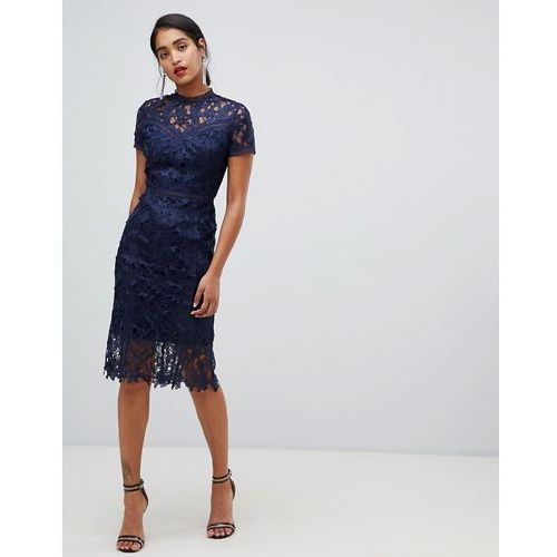 e0bc3433b2 Chi Chi London Chi Chi London high neck lace pencil dress in navy - Navy