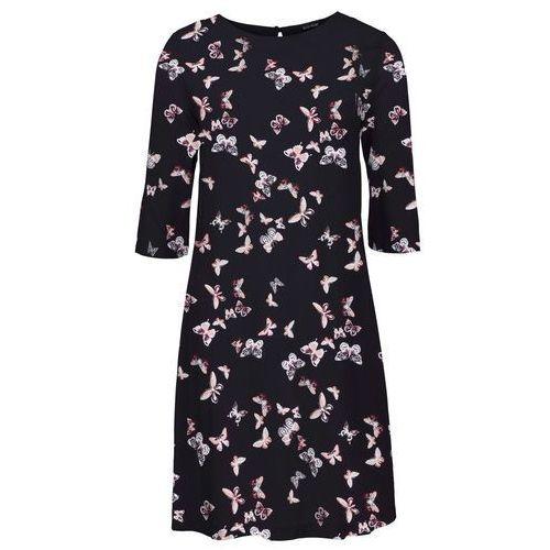 819a4a3f0d Sukienka z wiskozy czarny z nadrukiem w motyle