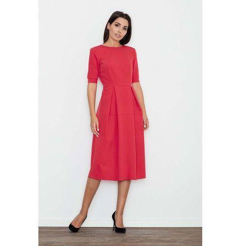 0638a569d5 Czerwona sukienka elegancka wizytowa midi