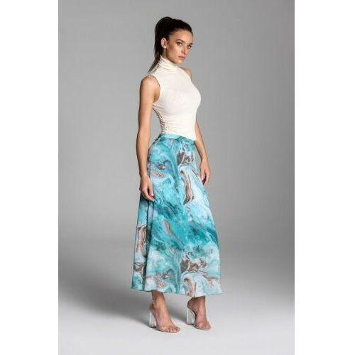 Długa letnia spódnica trapezowa z szyfonu w kolorze turkusowym - kolekcja turkusowe morze marki Tarionus s.c.