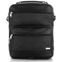 Męska torba na ramię listonoszka skóra naturalna czarna Listonoszki Vintage Divino + Plecak 6601 + B-05 (-24%)