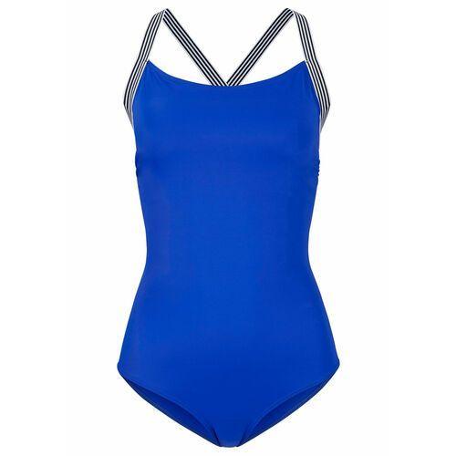Biustonosz bikini na fiszbinach bonprix czarny z nadrukiem, kolor niebieski