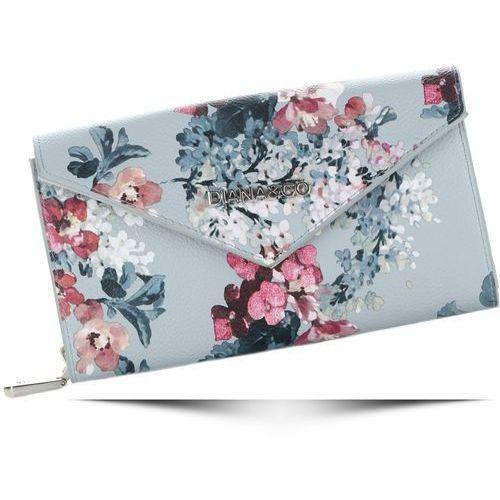 bbb3a47b45aa Modny portfel damski firenze wzór kwiatów szary (kolory) marki Diana co