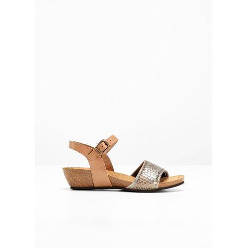 09eb65deaf7cd9 Bonprix Wygodne sandały skórzane bonprix brązowy we wzór skóry węża, kolor  brązowy